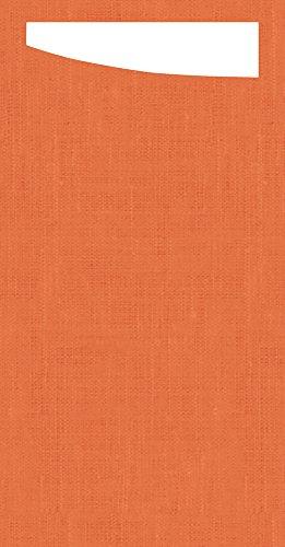 Duni 173683Sacchetto Besteck Taschen mit gefaltet Dunisoft Servietten Innen, 11,5cm x 23cm, mandarine Sacchetto und weiß Serviette (240Stück)