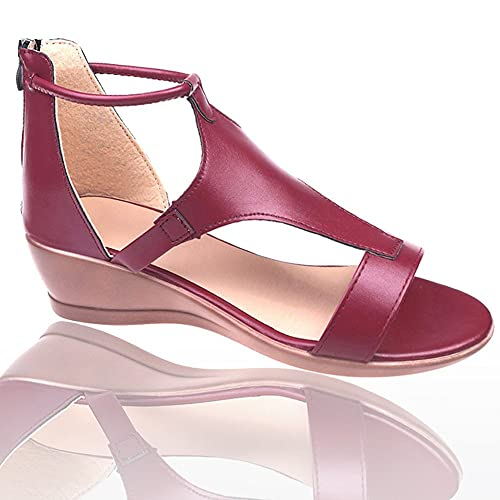 Non-Slip Concise Wedge Sandals with Arch Support,Ankle Strap Heel Wedges Fashion Casual Shoes for Women,Sexy T-bar Open Toe Platform Ladies,Leather Plus Size Gladiator Sandalias