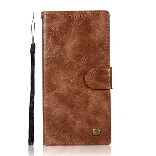 Protector de pantalla de la caja del teléfono para Sony Xperia XA1 Plus Retro Copper Button Crazy Horse Horizontal Flip PU Funda de cuero con soporte y ranuras para tarjetas y billetera & Lanyard (vin