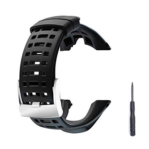 dell'orologio in gomma, cinturino di ricambio nero morbido per Suunto Ambit 1/2 / 2S / 2R / 3 Sport / 3 Run / 3 PEAK - Cinturino per orologio premium impermeabile 24mm - Cacciavite incluso