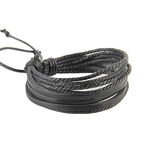 Pulsera de cuero multicapa unisex creativa cuerda de cera tejida a mano para hombres y mujeres decoración negro práctico y útil
