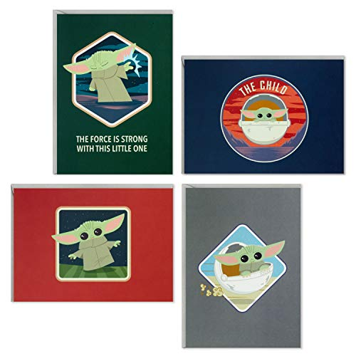 Hallmark Kids Baby Yoda All Occasion Cards Assortment, 12 Blank Cards with Envelopes (The Child)