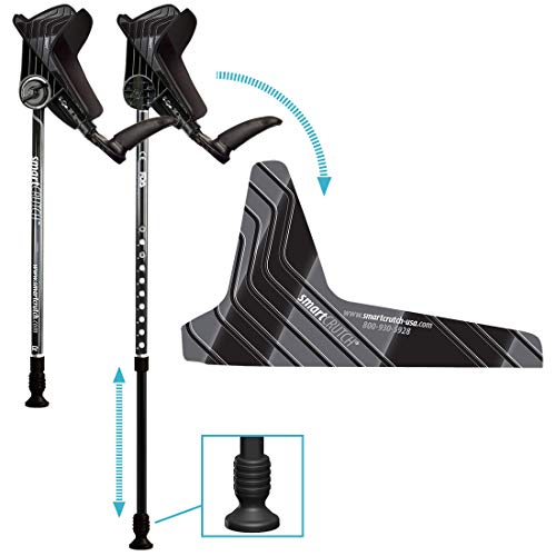 smartCRUTCH Racer Series Forearm Crutch 15-90 Degree Rotation - 2 Ergonomic Walking Aids, Adjustable 4'4-6'7 Adult Athlete Elderly Injury/Disability, Mobility Support - Large, Black