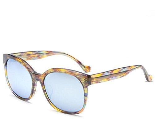 SUN^GLASSES GAFAS DE SOL Nuevas Gafas De Sol Imitación Madera Elegante Patrón Colorido Retro, Gafas De Película De Color Amarillo/Caja Azul/Blue Film