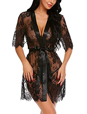 Avidlove Sexy Robe Women Kimono Robe Floral Lace Babydoll Lingerie Sheer Mesh Nightgown Black L from