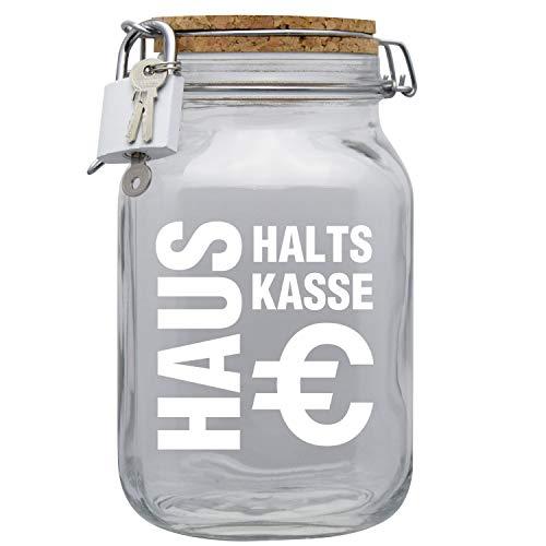 Spardose Haushaltskasse mit Korkdeckel und Sparschlitz Glas XL