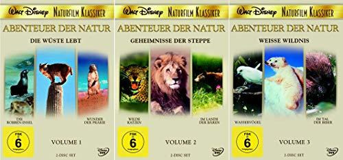 Abenteuer der Natur: Die Wüste lebt (1) + Geheimnisse der Steppe (2) + Weiße Wildnis (3) [6-DVD]