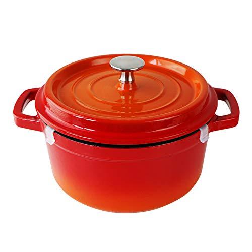 SHUHAO Casserole en Fonte Ovale, Cocotte 20 cm, en Fonte émaillée revêtement, avec Couvercle Dripping Anneaux, Peut être utilisé sur Une cuisinière ou Un Four Lave-Vaisselle,Orange