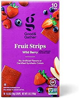 Fruit Strips Fruit Leathers Healthy Snack Made with Real Fruit and Veggie Puree Concentrate Good and Gather 10 Strips (Wild Berry)