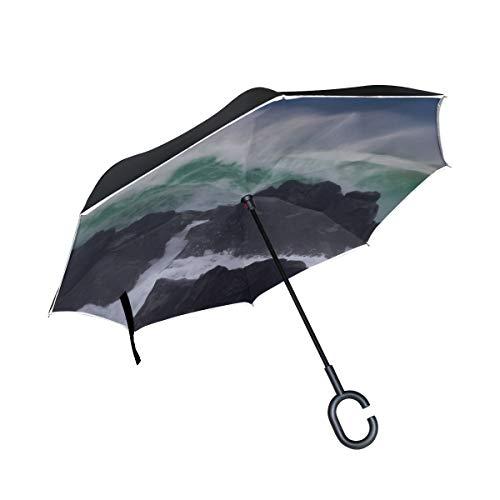 Double Layer Umgekehrter winddichter Umkehrschirm Wasserwand wie EIN Tsunami Gefährliche Riffumkehrschirme für Männer Herren Umgekehrter Regenschirm Winddichter UV-Schutz für Regen mit C-förmigem Gri