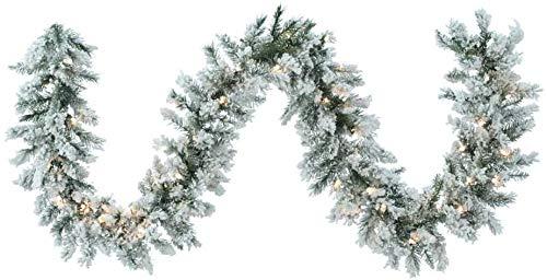 Natale Ghirlanda tralcio Verde innevato con luci 180 cm 150 Rami Pino Albero Fuori Porta LED Luce Calda
