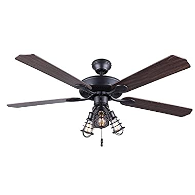 CANARM CF52OTT5GPH Otto 52  Ceiling Fan with 5 Rev Blades Silver Oak/Walnut 3 Light