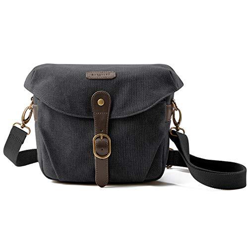 Camera Bag, BAGSMART SLR DSLR Canvas Camera Case, Vintage Padded Camera Shoulder Bag with Rain Cover for Women, Men, Black