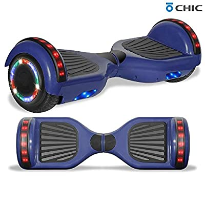 """Longtime 6.5"""" Chrome Metallic Hoverboard Self Balancing Scooter with Speaker LED Lights Flashing Wheels (Standard Blue)"""