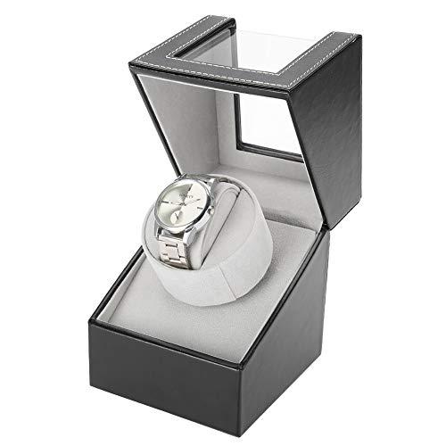 AYNEFY Uhrenbeweger Automatischer Uhrenwender Luxuriöser Uhrenvitrine Uhrenbox aus Leder für Männer Frauen Automatikuhren, Uhren Präsentation, Schwarz