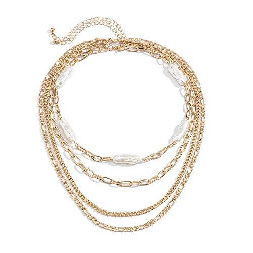 Anglacesmade Collar de cadena con clip de papel punk, con perlas irregulares gruesas, cadena fígaro, gargantilla de graduación, fiesta, festival, joyería para mujeres y niñas
