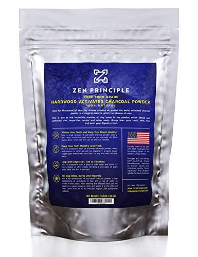 Large 2.5 lb Hardwood Activated Charcoal Powder 100 Percent from USA Trees. All Natural. Whitens Teeth, Rejuvenates Skin and Hair, Detoxifies, Helps Digestion, Treats Poisoning, Bug Bites, Wounds..
