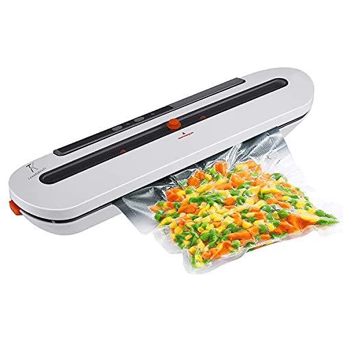 TRENDIKRAFT Vacuum Sealer Machine Automatic Dry & Wet Air Sealing System with 10 Bags for Food Preservation (80W)