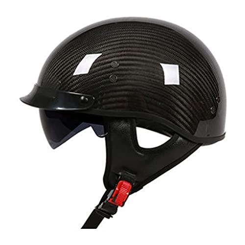 JLLXXG Casco abierto para motocicleta, medio (material de fibra de carbono), casco retro personalizado para hombre y mujer