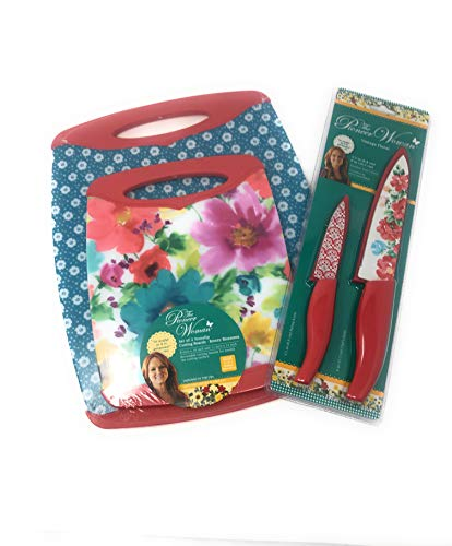 The Pioneer Woman Breezy Blossoms Non Slip Cutting Boards And Coordinating Set-6 Items Chefs Knife Paring Knife With Sheaths Non porous Cutting Boards