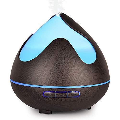 Diffusore di Aromi 300ml InnooCare Umidificatore a Ultrasuoni per Aromaterapia con Venature in Legno con 7 LED Colorati per Casa, Yoga, Ufficio (Tipo 2)