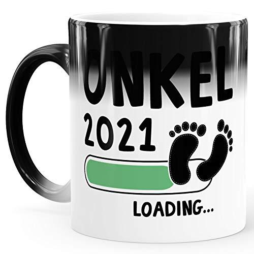 MoonWorks Taza de café Onkel 2020 loading efecto térmico, taza mágica de regalo para futuros tíos, anuncios de embarazo, nacimiento, color blanco y verde