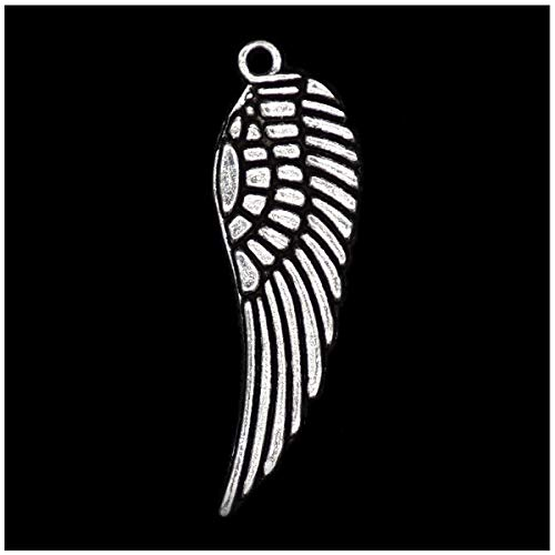Pack of 80 Angel Wings Charms Pendants Silver Craft Supplies for Jewelry Making Tibetan Accessories for Bracelets Necklace DIY