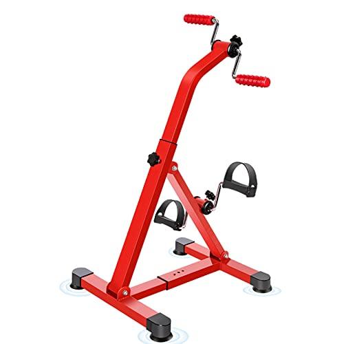 HXFENA Bicicletas De Ejercicio,Entrenador De Pies Y Manos Plegable con Masaje,Equipo De Gimnasia para Entrenamiento De Extremidades Superiores E Inferiores De Ancianos(Size:84x51x44cm,Color:Rojo)