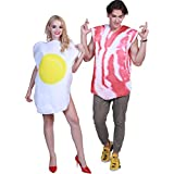 EraSpooky 'One Size Fits Most Adult Christmas Halloween Party Costume (One Size, Bacon and Egg)