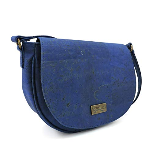 CorkLane Damen Umhängetasche klein | Saddlebag vegan aus Korkleder | Crossbody Sattel Tasche denim blau