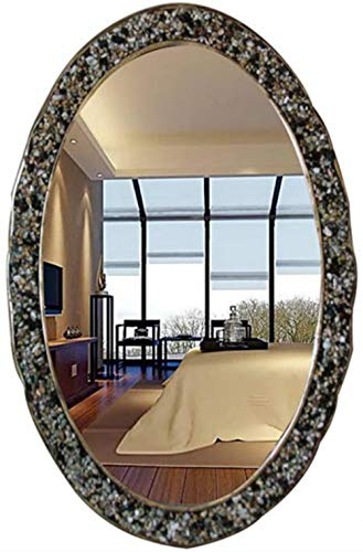 LHY - make-up spiegel natuurkleurige stenen muur gemonteerde badkamerspiegel ovaal badkamerspiegel decoratieve spiegel scheerspiegel mode