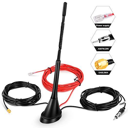 DAB Antenne Autoantenne SMA-Adapter, Booster-Verstärker mit 5 m/16.4ft Verlängerungskabel für FM AM/DAB + Radio Pioneer, Blaupunkt, Clarion, JVC, Sony