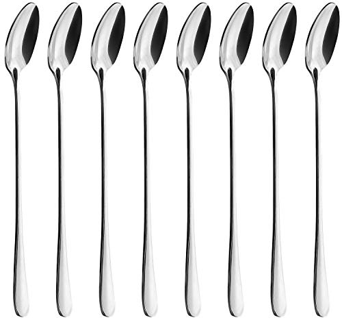 Long Handle Spoon, MCIRCO Stainless Steel Spoon Set Mixing Spoon Ice Cream Spoon Long Spoon Iced Tea Spoon Coffee Spoon Dessert Spoon Milkshake Spoon,Set of 8(Ice spoon)
