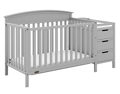 Graco Benton 4-in-1 Convertible Crib and Changer (Pebble Gray) Solid Pine and Wood Product Construction, Converts to Toddler Bed or Day Bed (Mattress Not Included)