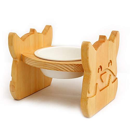 Lrxq Cat Bowl Pet massief houten eettafel keramische kom hondenvoer schotel kat eten Oblique rijst schaal Dish Rack Cat Supplies