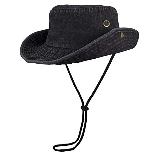 Gelante 100% Cotton Stone-Washed Safari Booney Sun Hats 1910-DenimBlack-L/XL