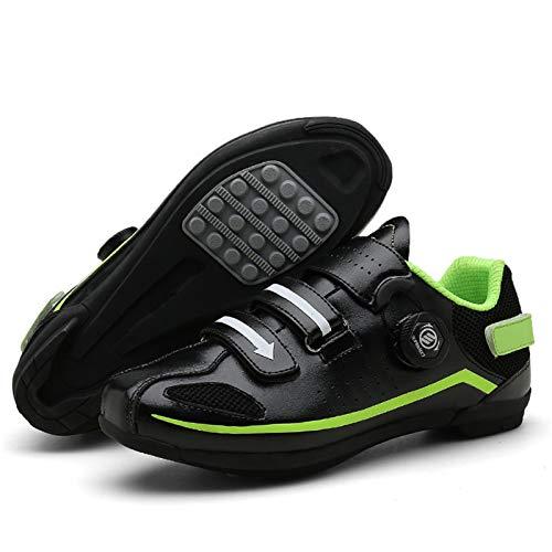 Bicicleta de Carretera Zapatillas de Ciclismo Zapatillas de Montar para Hombre o Mujer Suela de Goma Antideslizante para Interior/Exterior Zapatillas de Bicicleta de Pedal Sin Bloqueo,Black-40