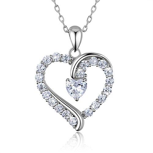 925 argento sterling cuore collana - Billie Bijoux'sei l'unico' Platinum placcato diamant amore collanina bella donna gioiell