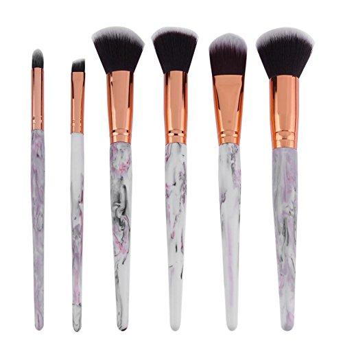 Domybest 6 pcs Lot de brosse de maquillage Gris clair Résine Poignée Ombre à paupières Cosmétique Brosse kit