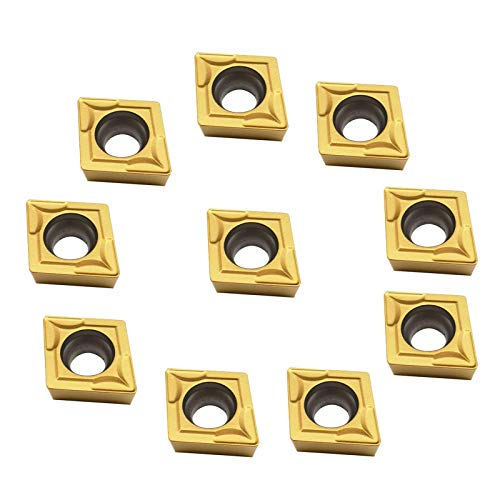 ASZLBYM CCMT21.51 / CCMT060204 Carbide Turning Inserts CCMT Insert Mutilayer Coated CNC Lathe Inserts for Metal Lathe Turning Tool Holder Replacement Insert (CCMT21.51 yllow)