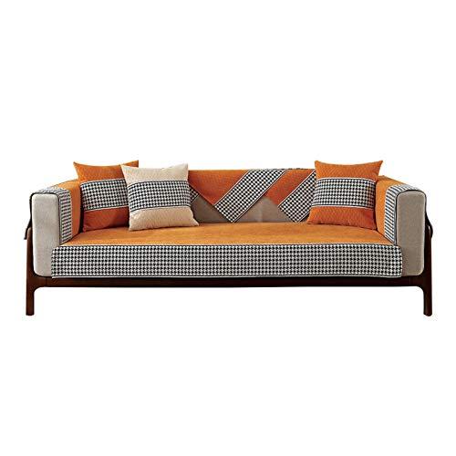 Accesorios Sofá CHENILA Light CHENILE and-SLIG Sofa Cushion FOUROS DE Cuadrados Cuadrados Universal Nordic SOFATH Sofa Total para Muebles de Sala de Estar. (Color : Orange, Size : 70x180cm)