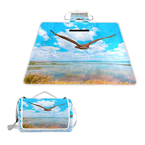 LZXO Jumbo Picknickdecke faltbar Tribal Tier Einhorn Gemälde groß 144,8 x 149,9 cm Wasserdichte handliche Matte Tragetasche Kompakte Outdoor Matte mit Griff