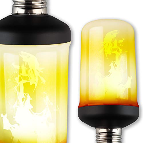 NITOR Lighting LED Flame Effect Light Bulb, Flickering Fire Halloween Lights - Flat Black E26 Base -...