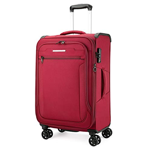 Verage Toledo Softside Spinner Luggage Travel Carry On Cabin Hand Luggage Suitcase 3 Year Warranty Durable 8 Spinner Wheels (M (69cm-78L), Burgundy)
