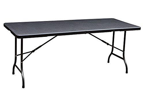 Beach & piscine tb001 Table pliante pour jardin, terrasse et camping aspect rotin Noir, revêtement par poudre, 180 x 75 x 72 cm pliable Table de camping Table Bière tente