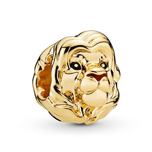 YDMZMS Charm in Argento Sterling 925 Originale Oro, Perline con Ciondolo re Leone Adatto Braccialetto e Collana Gioielli Fai da Te