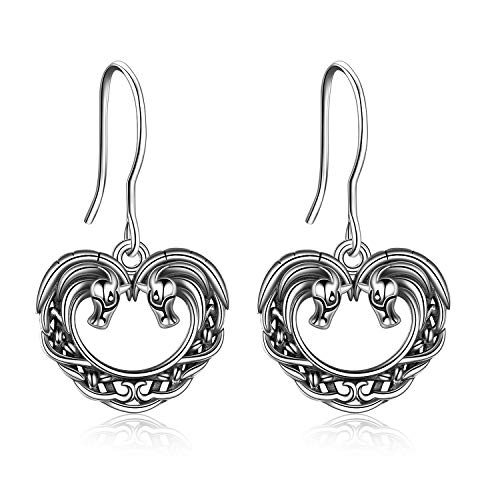Horse Earrings Sterling Silver Celtic Knot Horse Dangle Drop Earrings Heart Horse Gifts For Horse Lovers