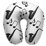 Almohadas,Notas De Música Musical Cojín De Respaldo De Patrón De Saxofón De Clave De Sol, Almohada Suave Y Cómoda En Forma De U para Reposo De Avión De Coche