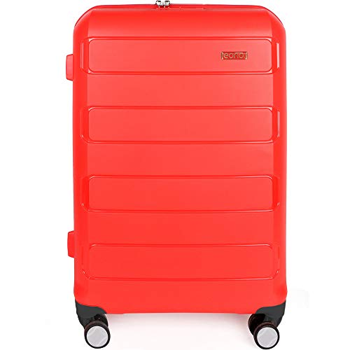 Eono by Amazon Expandable Hand Luggage Hard Shell Polypropylene Anti-Scratch Cabin Carry On with Spinner Wheels and Built-in TSA Lock, 55cm, Red