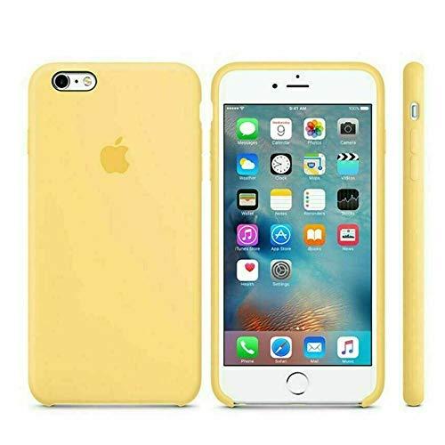 Funda Apple para iPhone 6 iPhone 6s carcasa protectora con logo original silicona suave gel protector ultrafino textura antideslizante protección contra golpes, arañazos y caídas (Amarillo pastel)